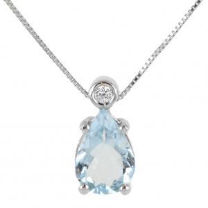 Collana con ciondolo Acquamarina a Goccia carati 1,46 e diamante - gallery