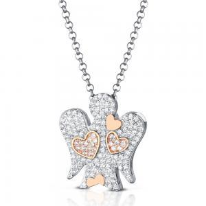 Collana con ciondolo Angelo in argento cuori e Zirconi GIA357  - gallery