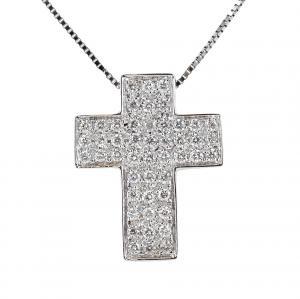 Collana con ciondolo Croce a pave di Diamanti ct. 0.25 - gallery