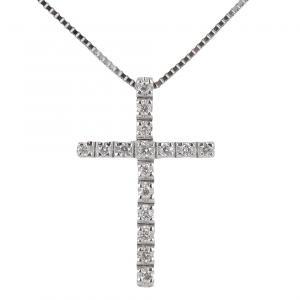 Collana con ciondolo Croce con Diamanti ct. 0.11 - gallery