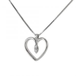 Collana con ciondolo cuore con punta di diamanti - pendente a forma di cuoricino - gallery