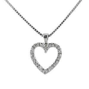 Collana con ciondolo cuore di diamanti - pendente a forma di cuoricino - gallery