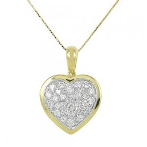 Collana con ciondolo Cuore in oro e diamanti - gallery