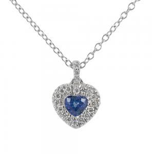 Collana con ciondolo Cuore Zaffiro 0.29 con contorno di diamanti - gallery