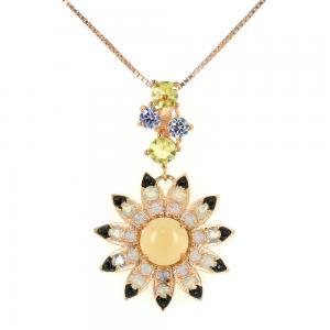 Collana con ciondolo fiore in argento e zirconi GIOIELLI SAMUI - gallery
