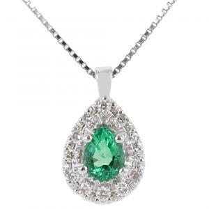 Collana con ciondolo Goccia di Smeraldo e contorno di Diamanti - gallery