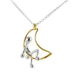 Collana con ciondolo Pensieri Felici LUNA in argento e oro giallo GS4005 - gallery