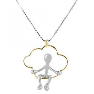 Collana con ciondolo Pensieri Felici nuvola altalena in argento e oro giallo GS 1040 - gallery