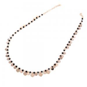 Collana con cristalli neri e ciondolo cuore argento rosa - gallery