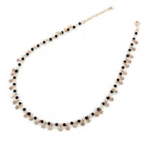 Collana con cristalli neri e ciondolo stella argento rosa - gallery