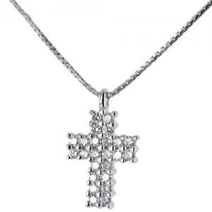 Collana e pendente Croce in oro con Diamanti ct. 0.14 G - gallery