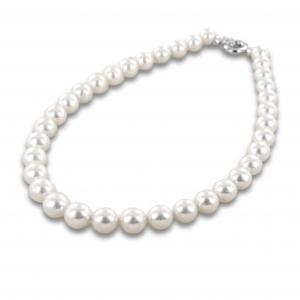 Collana filo di perle Australiane con chiusura in oro e diamanti - gallery