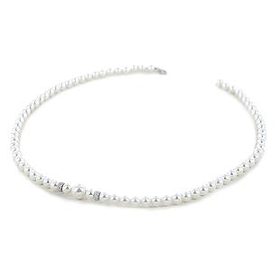 Collana Filo di Perle Freshwater 5.50 - 6.00 mm con anelli diamantati - gallery