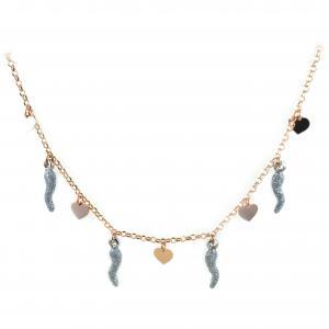 Collana in argento con charms cuori e corni glitter - gallery