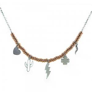 Collana in argento con charms Portafortuna e sfere rose - gallery