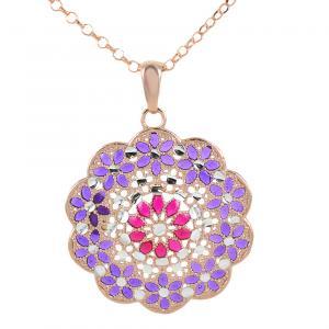 Collana in argento con pendente fiore e smalti viola e rosa collezione Notre Dame - gallery