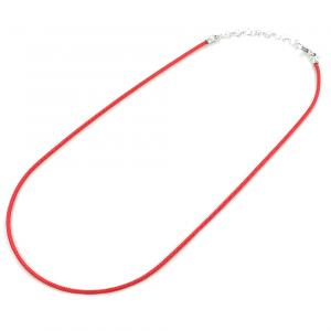 Collana in argento e tessuto nautico spesso 2 mm colore Rosso - gallery