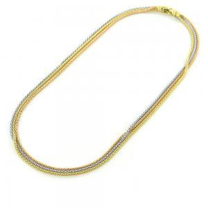 Collana in oro tre colori - girocollo a tre corde maglia morbida - gallery