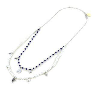 Collana religiosa Agios gioielli con perle Angelo Cherubino e cristalli blu - gallery