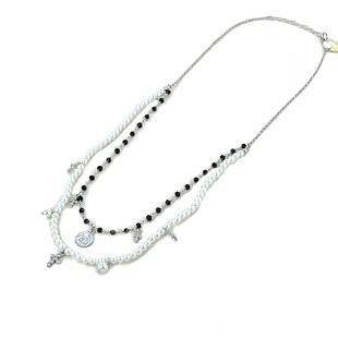Collana religiosa Agios gioielli con perle Angelo Cherubino e cristalli neri - gallery