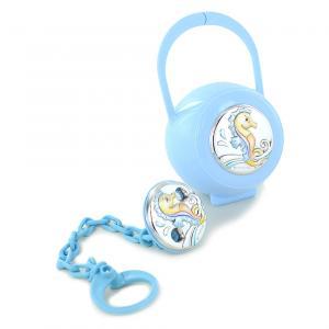 Confezione regalo scatolina e pinza porta ciuccio da bambino argento ippocampo - gallery