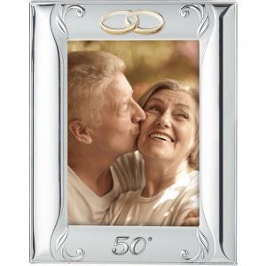 Cornice 50° anniversario di matrimonio in argento con fedi dorate 10 x 15 cm - gallery