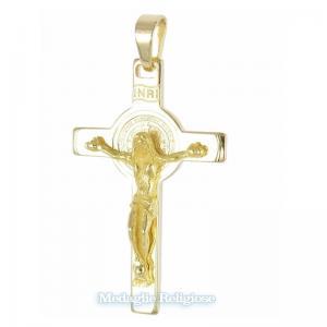 Croce di San Benedetto in oro giallo con medaglia - gallery
