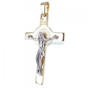 Croce di San Benedetto in oro giallo e bianco con medaglia - gallery