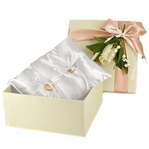Cuscino porta fedi semplice in raso in confezione regalo sposi - gallery