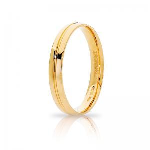 Anello Fede Unoaerre Lyra collezione Brillanti Promesse in oro giallo 18 kt misura 22 - gallery