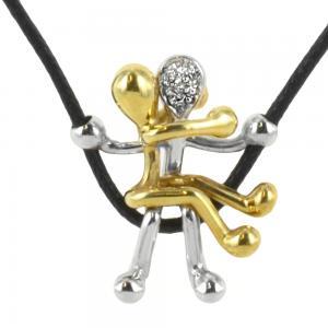 Girocollo con Ciondolo Pensieri Felici G1021-XLB in oro con diamanti - gallery