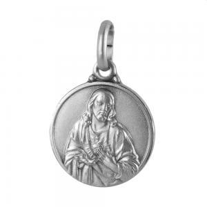 Medaglia Sacro Cuore Scapolare Madonna Carmine in argento 14 mm - gallery