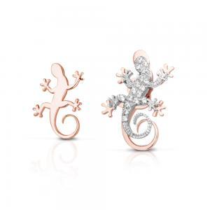 Orecchini a bottoncino Geco in argento rosato con Zirconi GEA105R - gallery