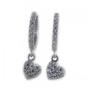 Orecchini a cerchio con pendente Cuore in argento e pave di zirconi bianchi - gallery