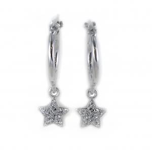 Orecchini a cerchio con pendente Stella in argento e pave di zirconi bianchi - gallery