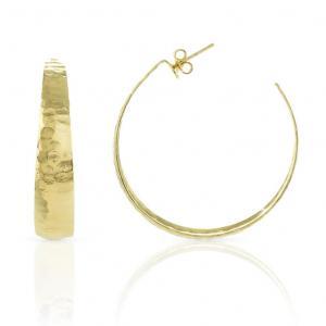 Orecchini a cerchio grande Unoaerre in bronzo Giallo colore oro - gallery