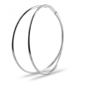 Orecchini a cerchio in argento 50 mm orecchini campanella - gallery