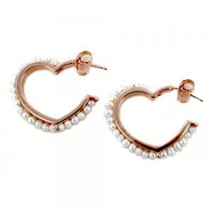 Orecchini a cerchio sagoma cuore rosa con contorno di perle - gallery