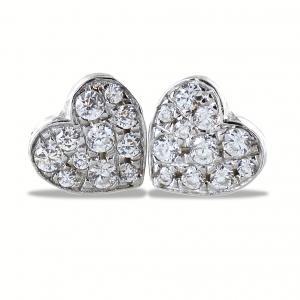 Orecchini a cuore in argento e pave di zirconi bianchi - gallery