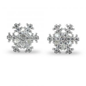 Orecchini a fiocco di neve in oro bianco e zirconi - gallery