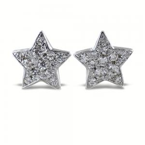 Orecchini a stella in argento e pave di zirconi bianchi - gallery