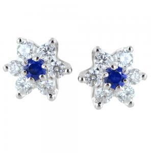 Orecchini a stella in oro e diamanti con zaffiri ct. 0.10 - gallery