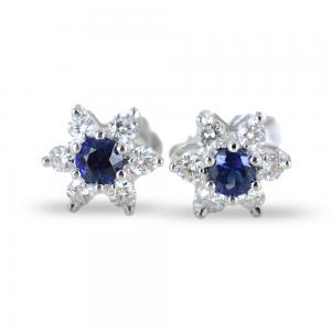 Orecchini a stella in oro e diamanti con zaffiri ct. 0.28 - gallery