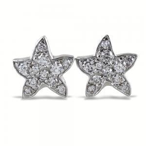 Orecchini a stella marina in argento e pave di zirconi bianchi - gallery