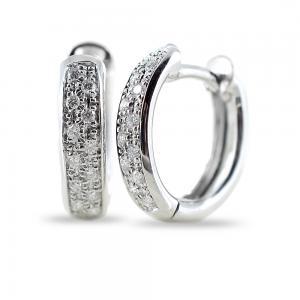 Orecchini Campanella ovale media in oro e diamanti ct 0.12 G Gioielli Valenza - gallery