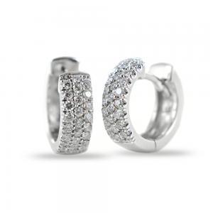 Orecchini Campanella ovale piccola in oro e diamanti ct 0.26 G Gioielli Valenza - gallery