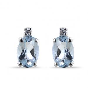 Orecchini con Acquamarina ovale e diamanti Orsini Gioielli - gallery
