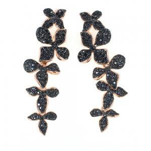 Orecchini con pendente lungo fiori neri in argento e zirconi GIOIELLI SAMUI - gallery