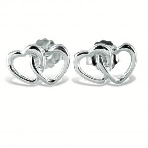 Orecchini doppio cuore intrecciato in argento - gallery