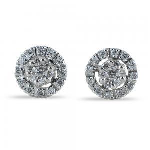 Orecchini effetto punto luce con contorno di diamanti carati 0.34 G - gallery